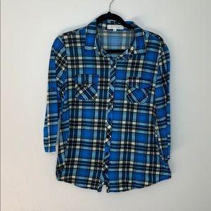Eden & Olivia blue black plaid button up shirt M